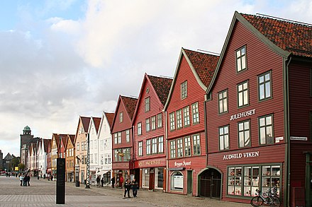 Bryggen in Bergen, once the center of trade in Norway under the Hanseatic League trade network, now preserved as a World Heritage Site Bryggen, Bergen3.JPG