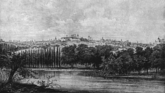 Dealul Mitropoliei - Bucharest at the beginning of the 19th century. Dealul Mitropoliei is in the centre of the drawing; Curtea Arsă to the left and Radu Vodă Monastery to the right (drawing by R. Bielitz)
