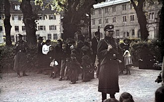 Porajmos - German troops round up Romani in Asperg, Germany in May 1940