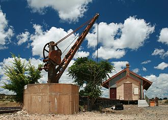 Bungendore - A disused rail loading platform and crane in Bungendore