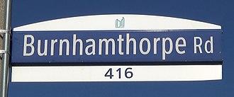 Burnhamthorpe Road - Image: Burnhamthorpe Street Sign
