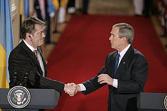 Viktor Yushchenko - Yushchenko meeting then-United States President George W. Bush at an April 2005 press conference.