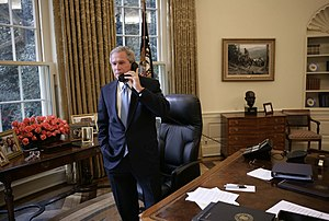 United States presidential election, 2004 timeline - President George W. Bush receives a phone call from Democratic presidential candidate John Kerry in which the senator concedes defeat in the 2004 presidential election Wednesday, Nov. 3, 2004.