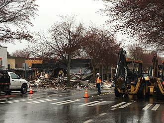 Greenwood, Seattle - Aftermath of the 2016 explosion, looking roughly north on Greenwood Avenue North, south of North 85th Street.