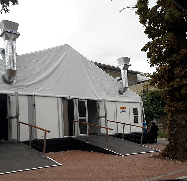 File:COVID-19 testing tent at the Paarl Provincial Hospital in Paarl, Western Cape, SA.jpg Description English: In response to the COVID-19 outbreak in South Africa, the Paarl Provincial Hospital erected a COVID-19 testing tent on its facilities to provide a safe space for testing to be conducted