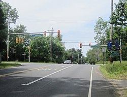 Intersection of County Routes 527, 527A, and 1 in the center of Carrs Corner