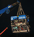 CSIRO ScienceImage 10720 The remotely operated submersible Jason being recovered on board the RV Thompson The red cable is the photoelectronic tether to the ship which controls operations and sends images and data back to the ship.jpg