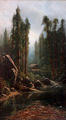 Landscape with Miner's Cabin on Stream in the Sierra Nevada