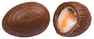 Cadbury Creme Egg - A whole and split egg, showing the white and yellow creme filling