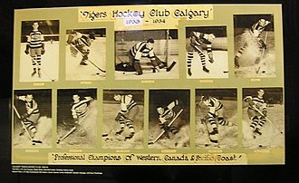 Calgary Tigers - 1933–34 Tigers team photo as part of a hockey retrospective at the Scotiabank Saddledome.