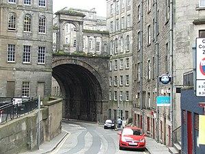 Regent Bridge - Calton Road underneath the bridge, with the arches overhead