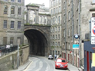 Regent Bridge - Calton Road underneath the bridge, with the arches overhead