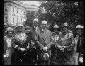 Calvin Coolidge and group outside White House, Washington, D.C. LCCN2016888060.tif