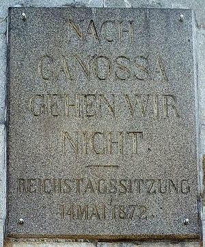 Road to Canossa - Plaque with Bismarck's quote erected in 1877 at Harzburg Castle