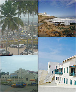 1st Top-Left image; Arch Bridge and Harbour view from Elmina Castle in Cape Coast • 2nd Bottom-Left image; ٹاؤن ہال of Cape Coast • 1st Top-Right image; Shore of Cape Coast • 2nd Bottom-Right image; Balcony of Cape Coast Castle.