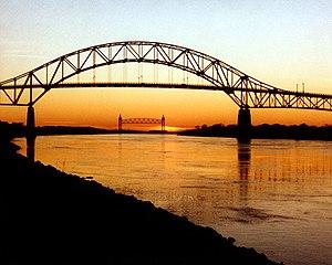 Cape Cod Canal - The Bourne Bridge, with the Cape Cod Canal Railroad Bridge in distance