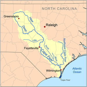 Cape Fear River - Map of the Cape Fear River drainage basin