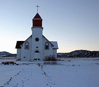 Capilla de San Juan Bautista - The chapel in winter.