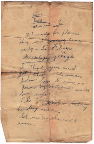 Battle of La Flor - Some of Captain Hunter's notes, written during the battle.