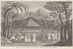 Purea - Captain Samuel Wallis of HMS Dolphin being received by Purea, July 1767
