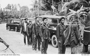 Sunda Straits Crisis - Indonesian troops captured after a raid at Kesang River on the Malay Peninsula.