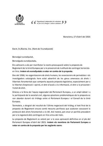 File:Carta d'Amical Wikimedia als eurodiputats demanant votar no a la redacció actual del TERREG.pdf