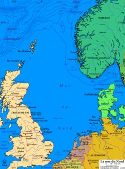 Carte de la mer du Nord.