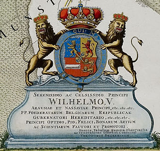 Cartouche (cartography) - Cartouche on a map dedicated to William V, Prince of Orange (1781)