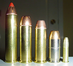 .454 Casull - Left to right: .460 S&W Magnum, .454 Casull, .44 Magnum, .45 ACP, and .22 LR