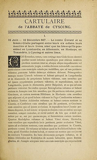 Eberhard of Friuli - Cysoing's first charter page 1