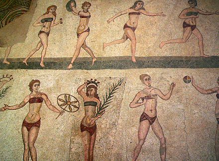"So-called ""bikini girls"" mosaic from the Villa del Casale, Roman Sicily, 4th century Casale Bikini modified.jpg"