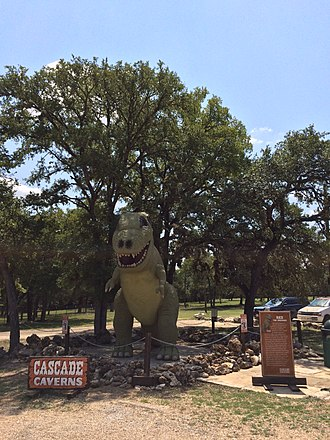 Cascade Caverns - Rex was created as a movie prop for the 1993 movie Father Hood starring Patrick Swayze. The Disney Company filmed for several weeks inside the cave and on the grounds outside.