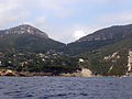Cassis - residential suburbs at the East of the town - from the sea.JPG
