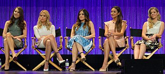 "Pretty Little Liars - The core cast of ""Pretty Little Liars"" (excluding Janel Parrish who portrays Mona Vanderwaal) at The Paley Center For Media's PaleyFest 2014 Honoring ""Pretty Little Liars"". From left: Troian Bellisario, Ashley Benson, Lucy Hale, Shay Mitchell, and Sasha Pieterse."
