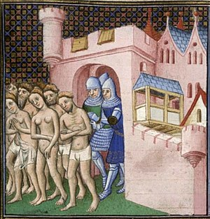 Catharism - Cathars being expelled from Carcassonne in 1209. In this group, women appear to be nearly as numerous as men.