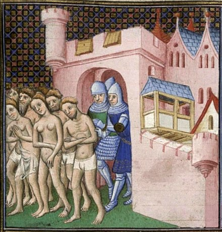The Cathars being expelled from Carcassonne in 1209. The Cathars were denounced as heretics by the Roman Catholic Church for their dualist beliefs. Cathars expelled.JPG