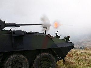Mk44 Bushmaster II - Irish Mowag Piranha shooting Mk44 Bushmaster II.