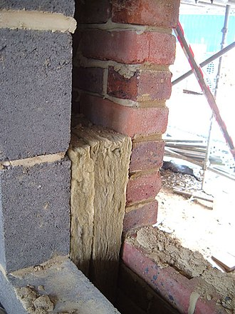 Cavity wall - A typical cavity wall with insulation during construction.