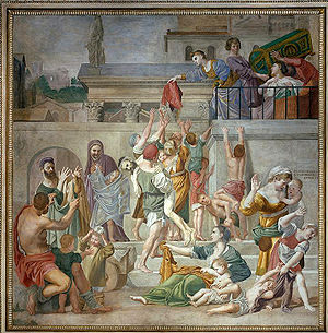 Bolognese School - Domenichino, St. Cecilia Distributing Alms, fresco, 1612–15, San Luigi dei Francesi, Rome