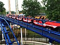 Cedar Point Corkscrew train returning to station (1654).jpg