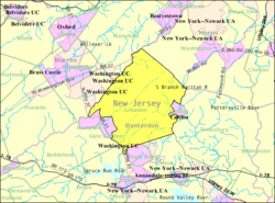 Census Bureau map of Lebanon Township, New Jersey