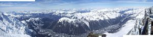 Aiguilles Rouges - Panorama of the Aiguilles Rouges and the Arve Valley from the Aiguille du Midi.