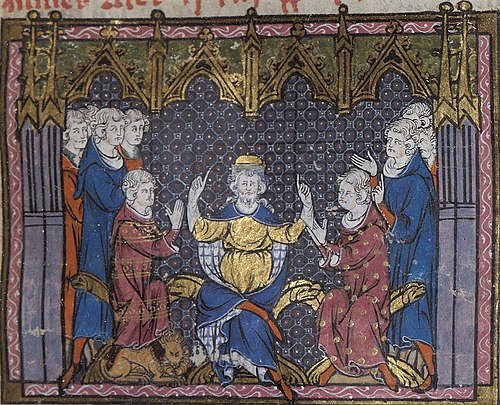 Charles Martel divides the realm between Pepin and Carloman. Grandes Chroniques de France. Bibliotheque Nationale. Charles Martel divise le royaume entre Pepin et Carloman.jpg