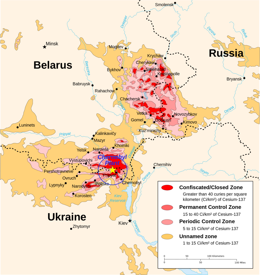 Chernobyl radiation map 1996 30km zone