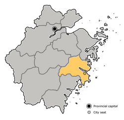 Location of Taizhou City in Zhejiang