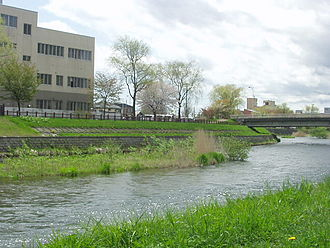 Chitose River - View from the southern bank on Chūō Grand Avenue in Chitose, Japan (May 2004)