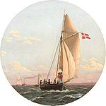 Christoffer Wilhelm Eckersberg - En Fart til Charlottenlund. Dampskibet 'Caledonia' kommer en Lystbaad imøde.jpg