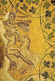 Possible Christ as Sol Invictus riding in his chariot. Third century mosaic in Pope Julii's tomb.