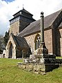 Church tower, Rockfield, and restored preaching cross - geograph.org.uk - 1243129.jpg
