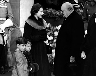 Churchill with Queen Elizabeth II, Prince Charles and Princess Anne, 10 February 1953. Churchill queen Elizabeth 1953.jpg
